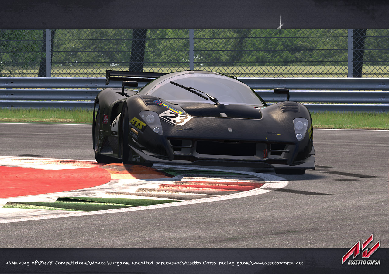 One of the cars gogin over a curb in asseto corsa
