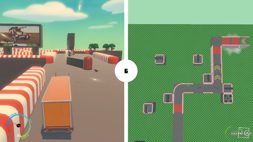 Drive along while your friend builds the track in Can't Drive This