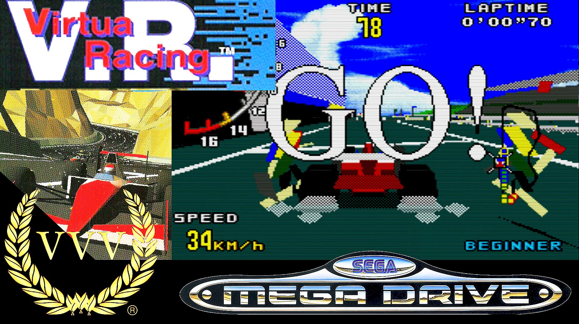 Playing 1994's Virtua Racing on the Mega Drive