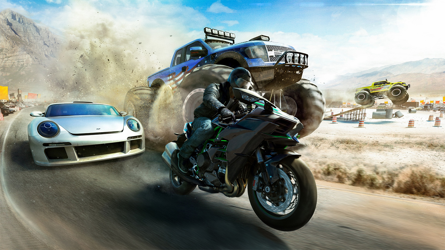 The Crew Wild Run artwork showing Ruf vs monster truck vs superbike