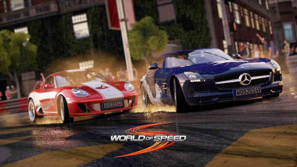 World of Speed screenshot showing Mercedes Benz SLS and Porsche 911