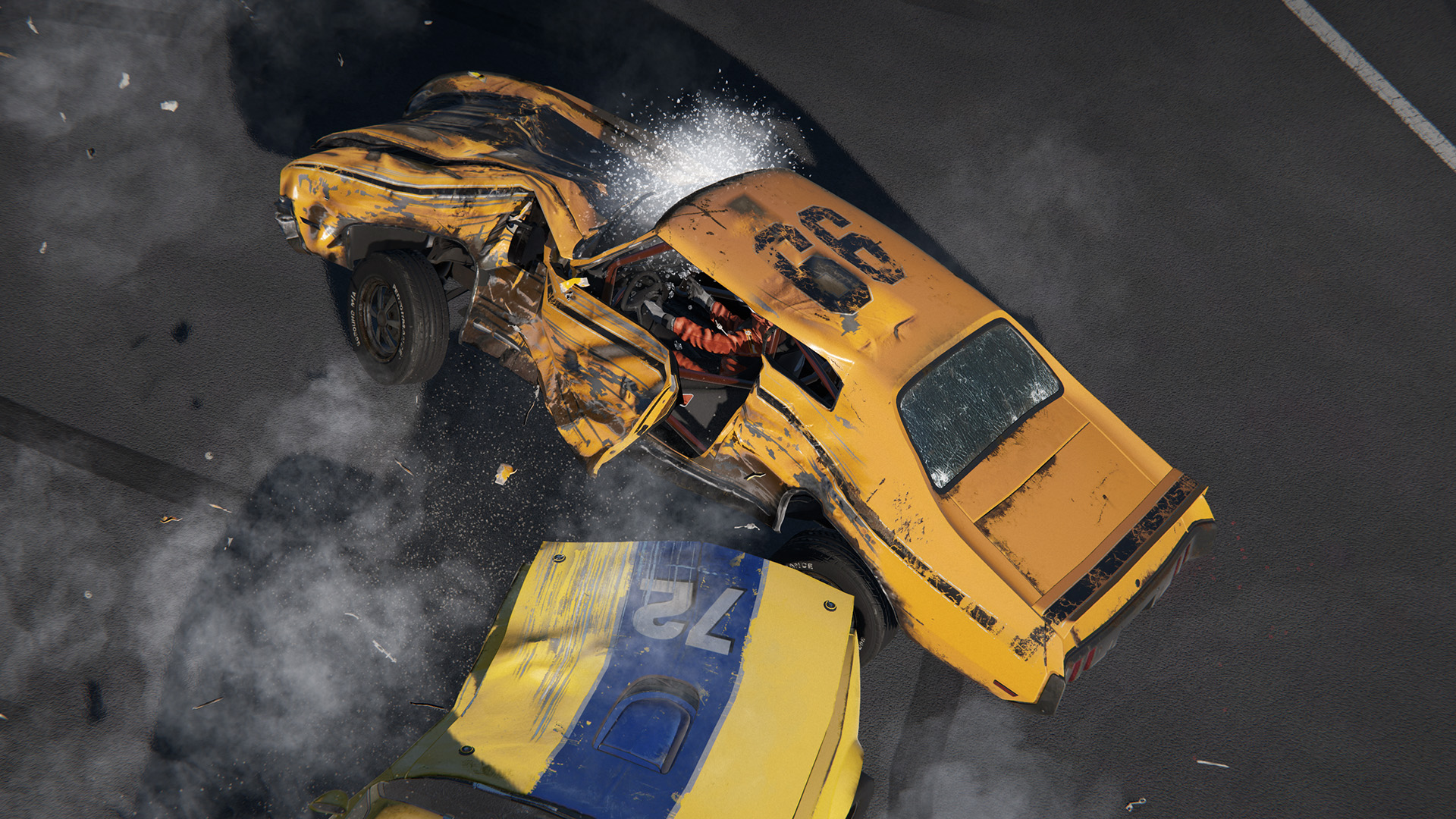 Wreckfest screenshot showing damaged car
