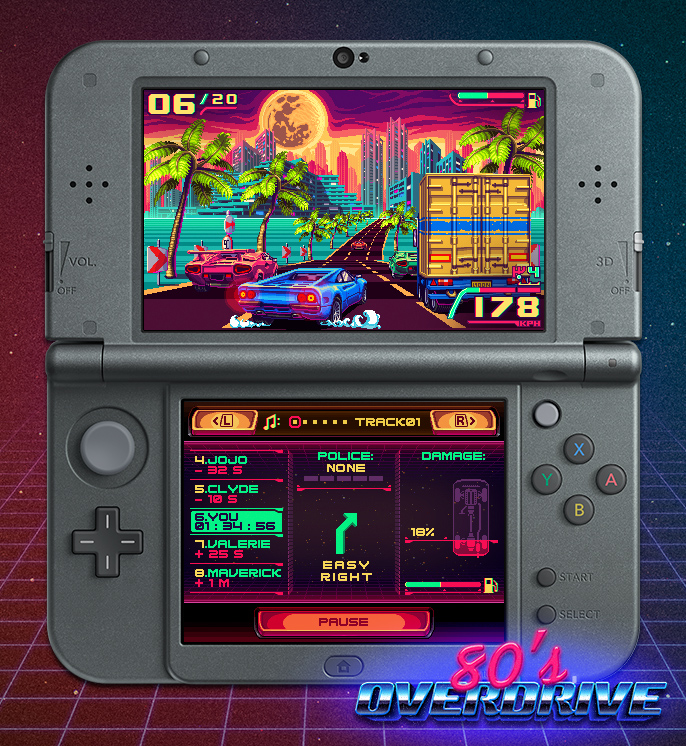 OutRun inspired racer 80's Overdrive racing onto the 3DS