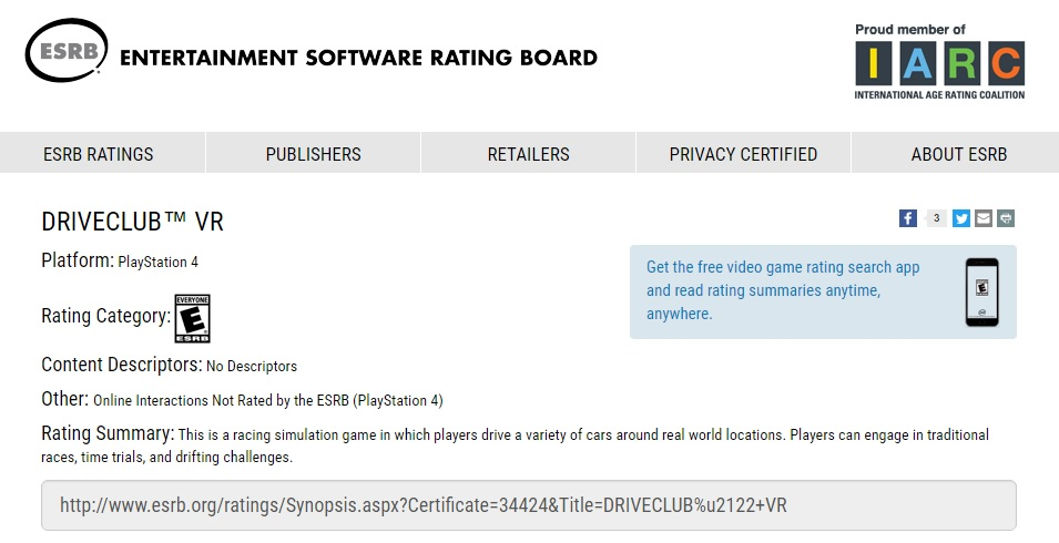 Driveclub VR Edition rated by ESRB