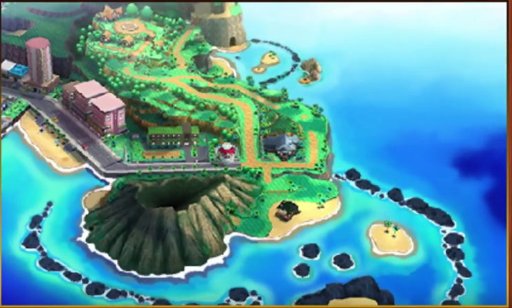 Alola, Sun and Moons new reason has a tropical feel to it complete with a volcano