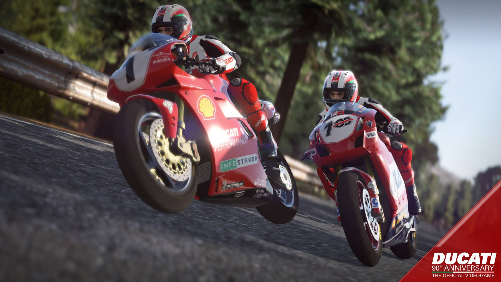 Ducati 90th Anniversary: The Official Videogame screenshot with two Ducatis racing through the countryside