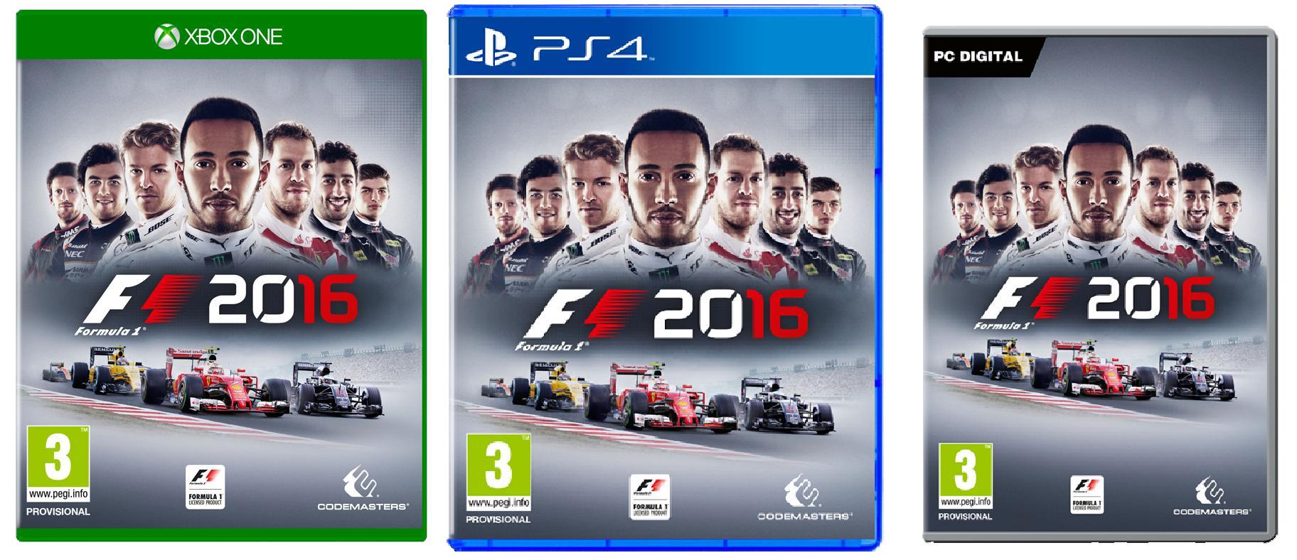 F1 2016 box art PS4 Xbox One PC