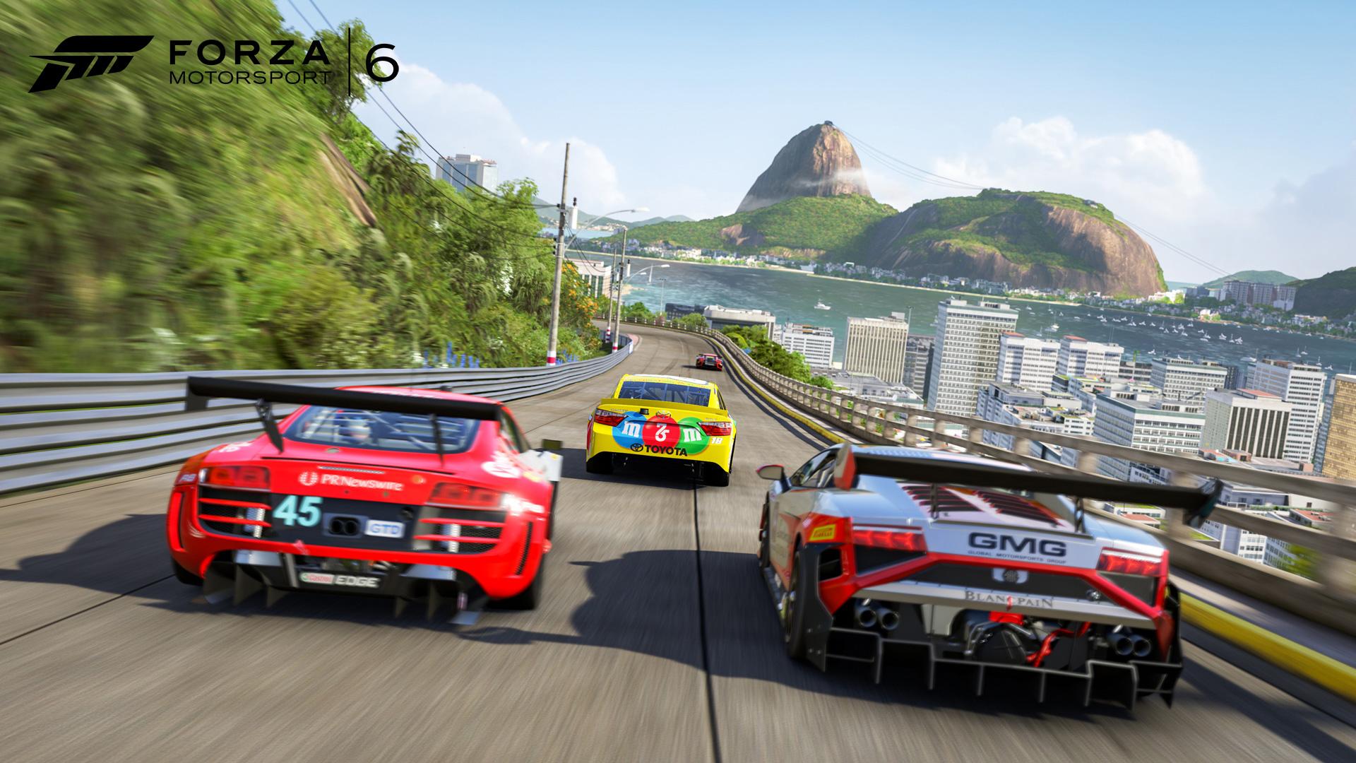 Forza Motorsport 6 screenshot showing Rio skyline