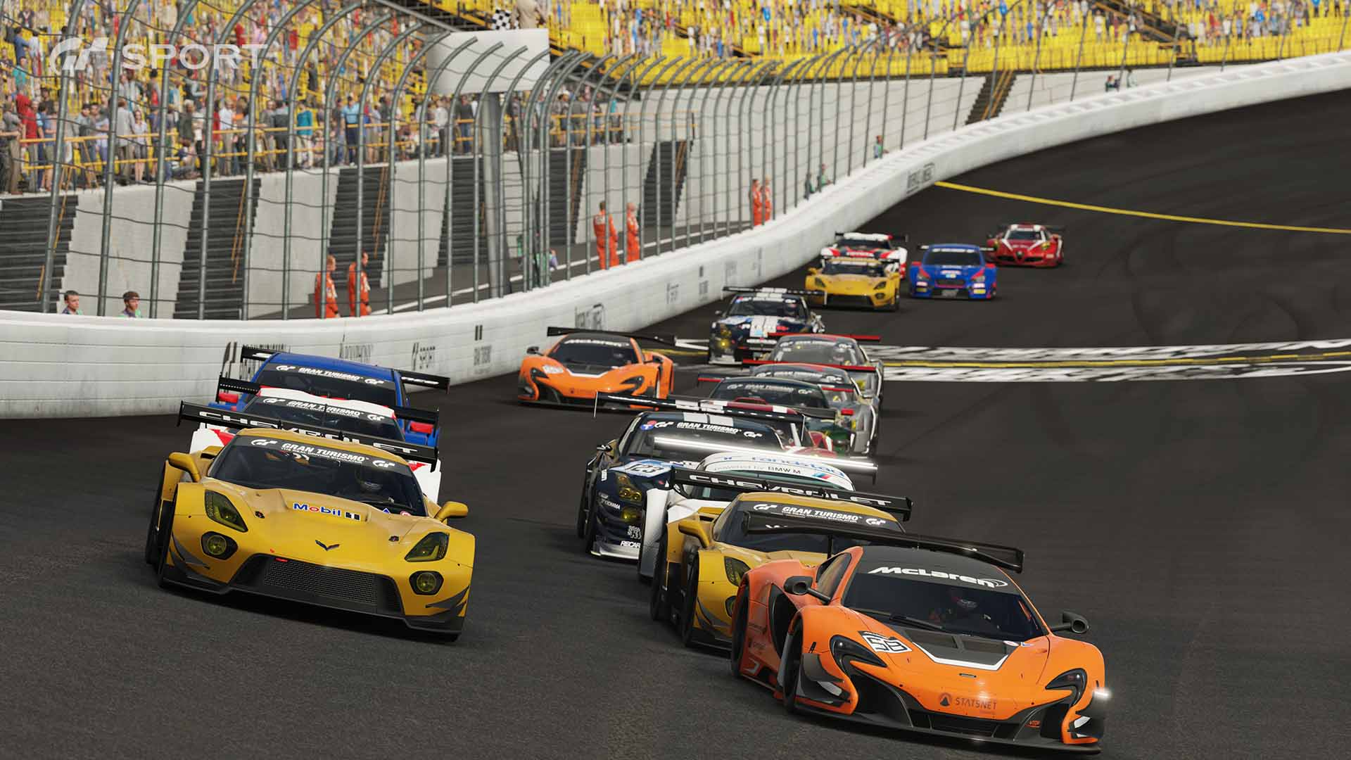 Gran Turismo Sport racing grid on oval track