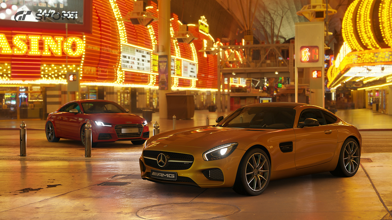 Gran Turismo Sport Scrapes mode - Audi TT and Mercedes AMG parked at Las Vegas casino