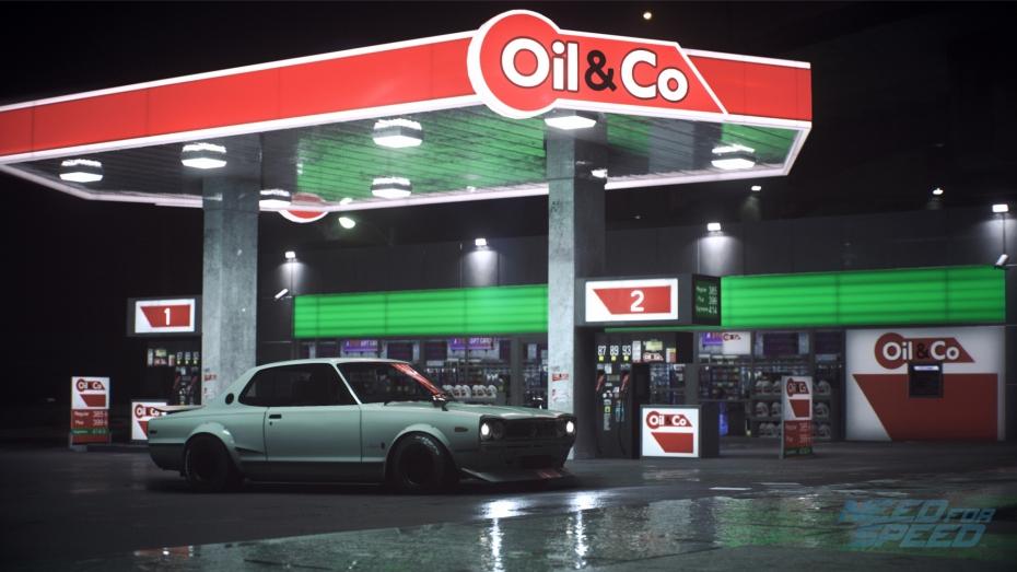 Need for Speed Nissan Skyline outside petrol station screenshot