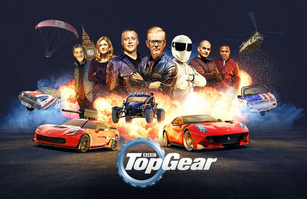 Top Gear main art with Chris Evans, Matt LeBlanc, Sabine Schmitz, Chris Harris and Eddie Jordan