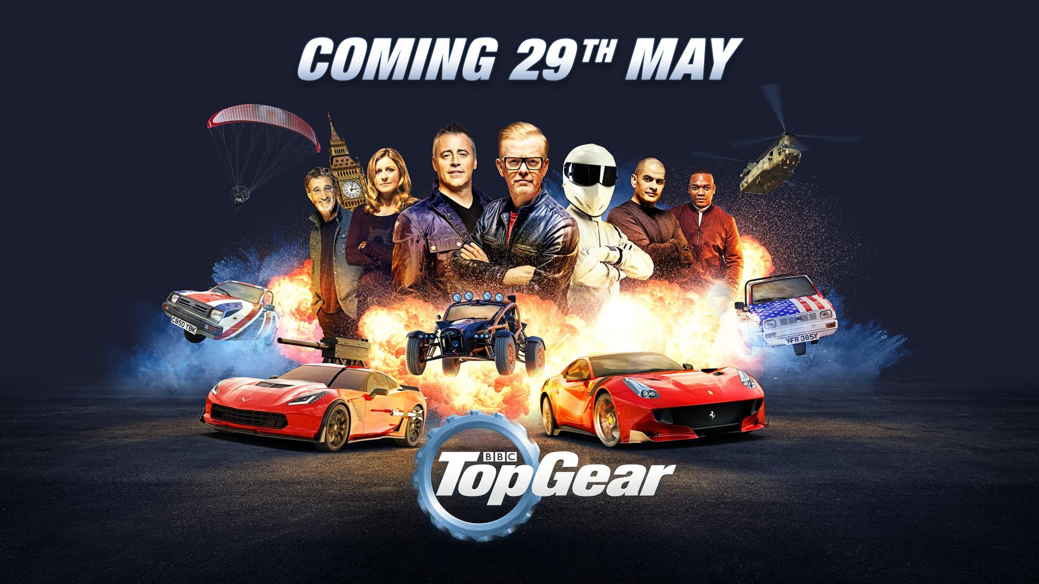 Top Gear art with Chris Evans, Matt LeBlanc, the Stig, Eddie Jordan, Sabine Schmitz, Chris Harris and Rory Reid stood behind an explosion of cars