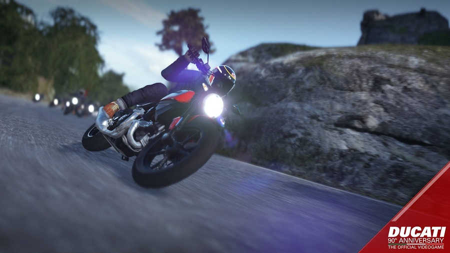 Ducati 90th Anniversary The Official Videogame leaning into turn
