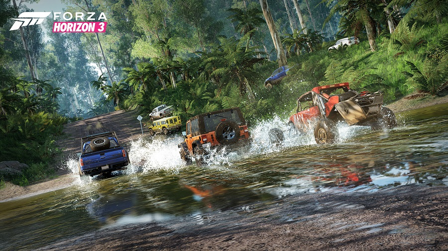 Forza Horizon 3 off road buggies driving through water and dense rainforest