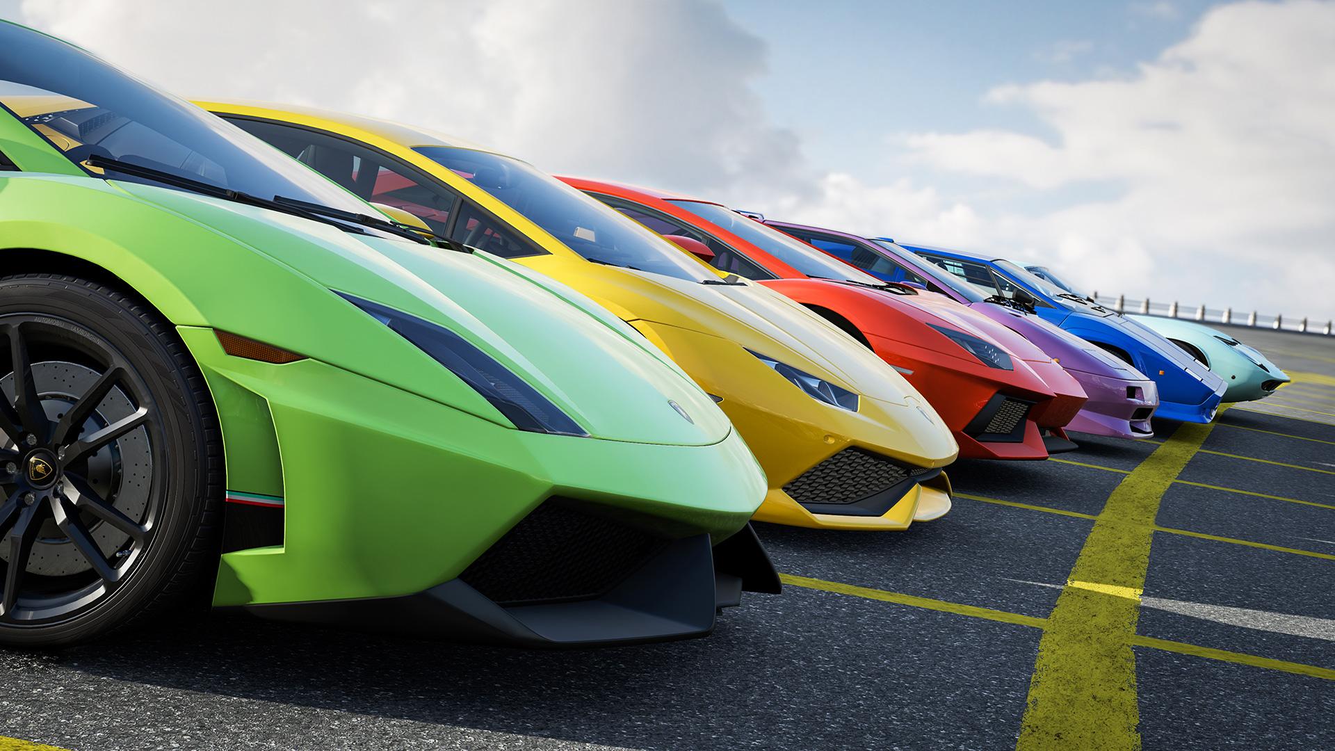 A row of Lamborghini's in Forza Motorsport