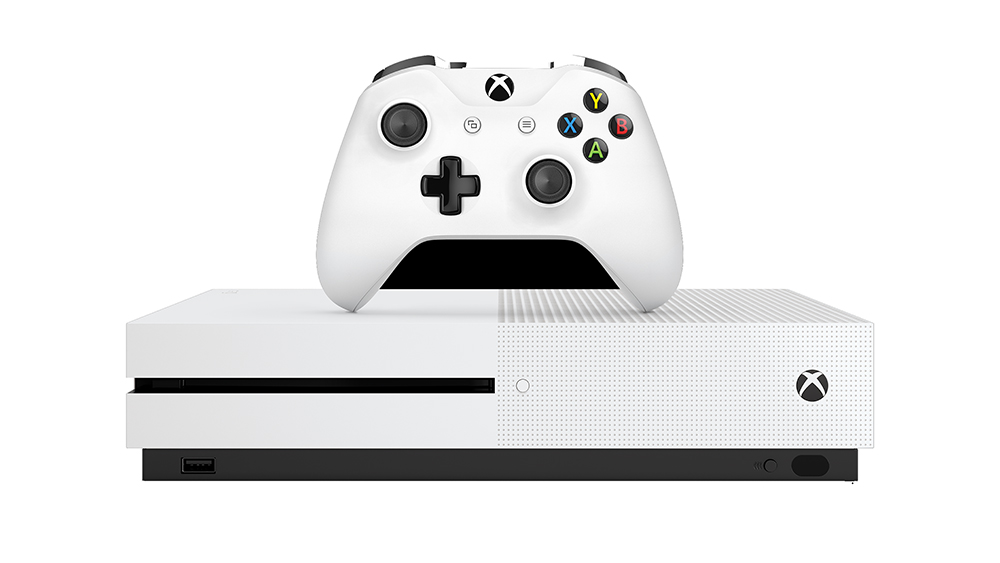 Xbox One S console and controller front view