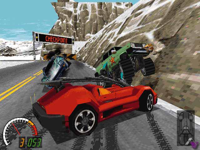 Carmageddon 1997 PC screenshot running over pedestrians gore