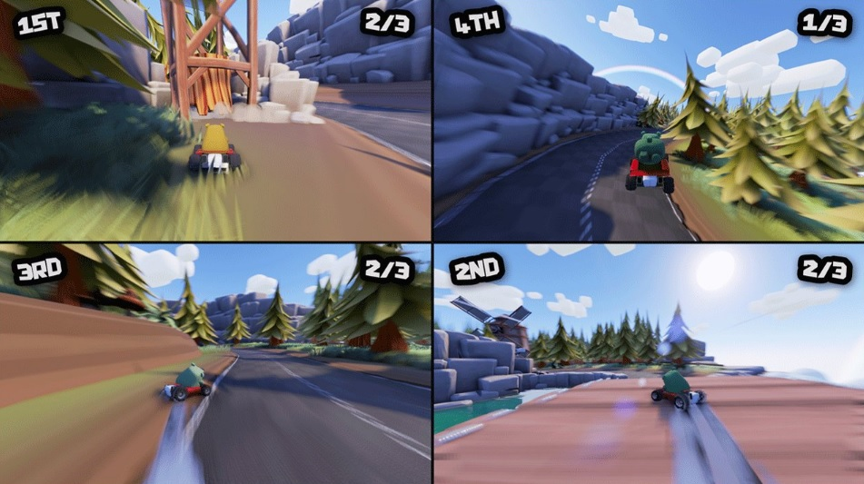 Bear's Can't Drift!? split screen action gameplay multiplayer kart racing