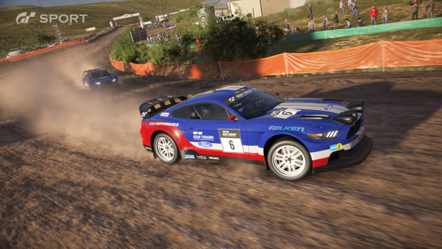GT Sport Gamescom screenshot rally racing Ford Mustang dirt fisherman's ranch