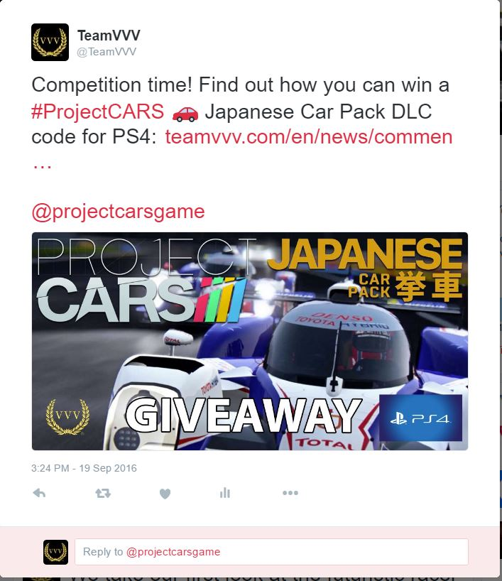Project CARS Japanese Pack DLC competition Twitter