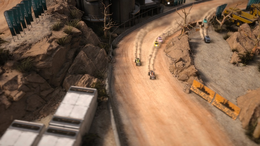 Mantis burn racing desert track environment skidding sliding