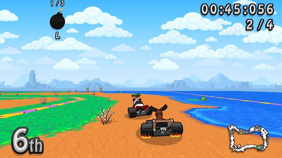 Wacky Wheels HD remaster kart racing beach water level track