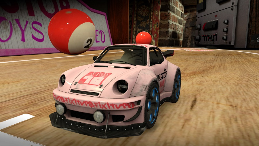 table top racing world tour porsche model pink livery 80's room