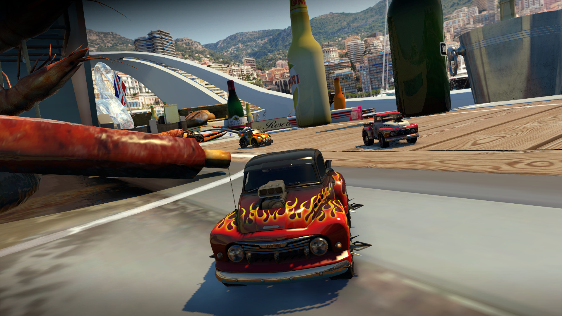 table top racing world tour boat yacht pick up truck flames