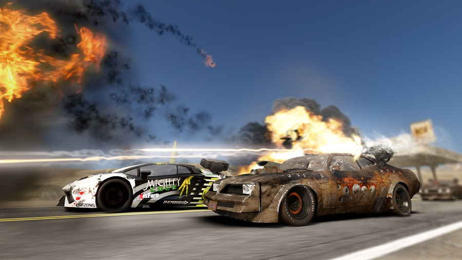 gas guzzlers extreme monster energy drink spoof road racing weapons firing