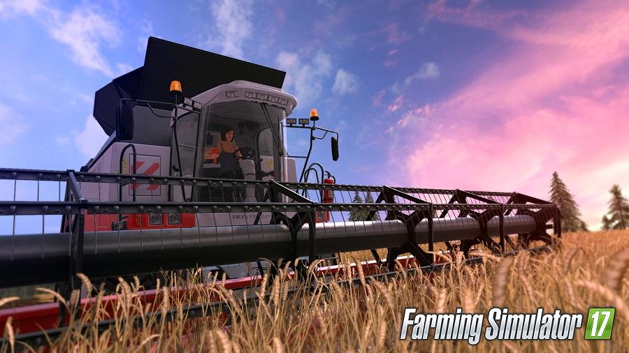 farming simulator 17 female farmer wheat harvester
