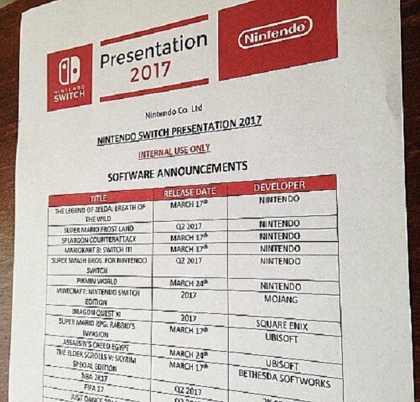 Nintnedo Switch reveal presentation schedule