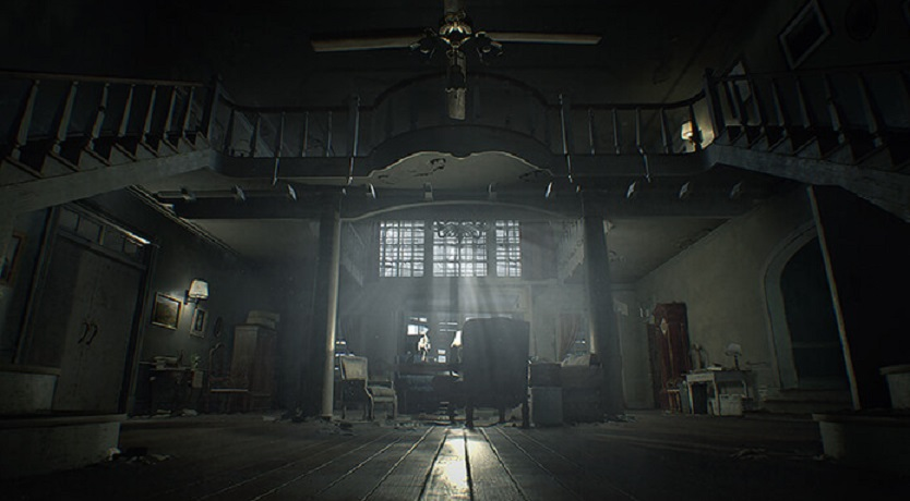 resident evil VII baker family mansion main hall