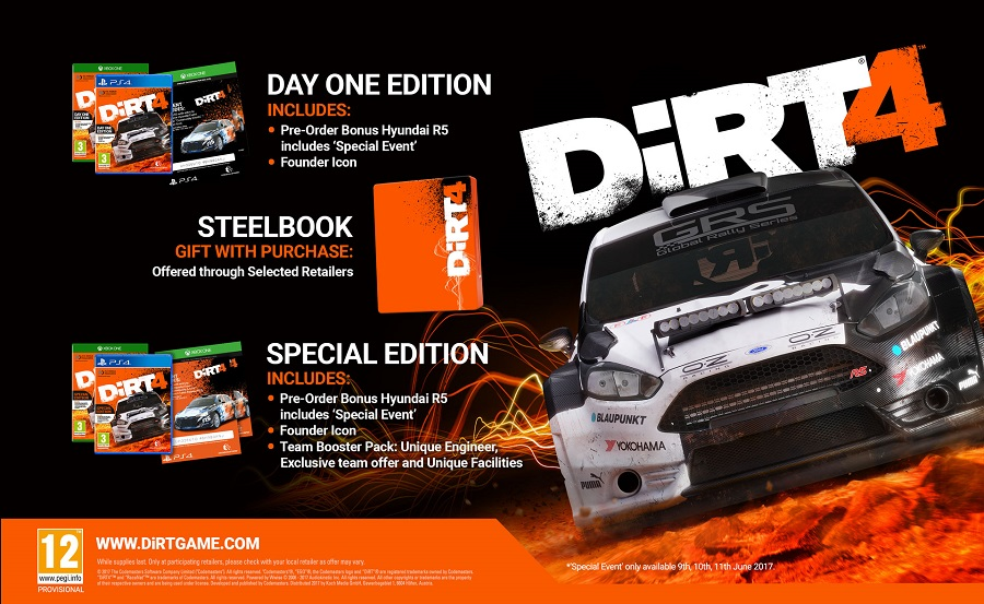 dirt 4 special edition day one steelbook pre order bonus