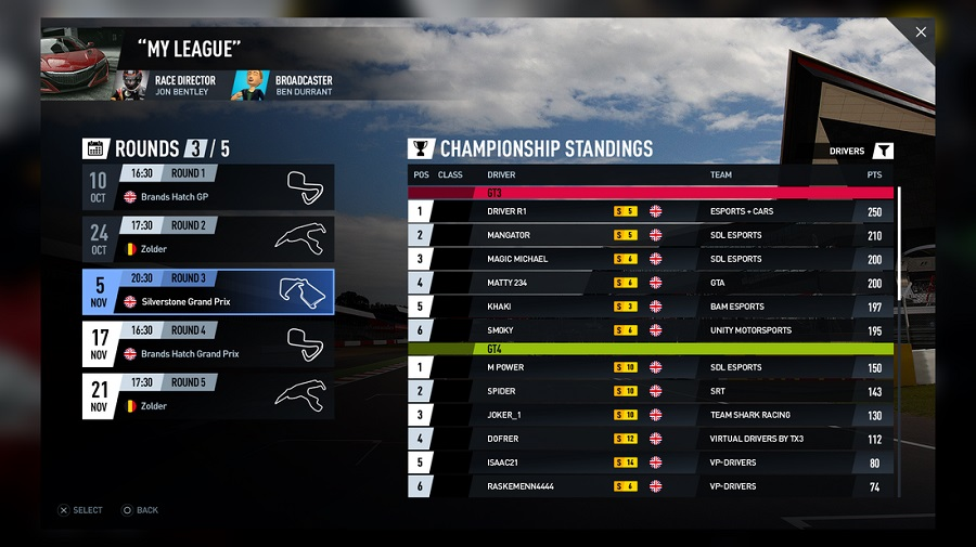 project cars 2 online championship standings screen