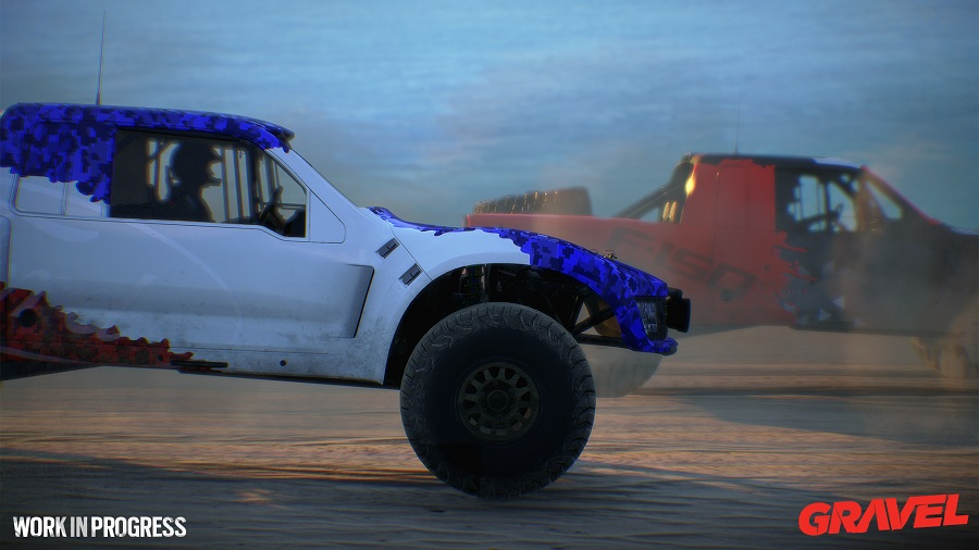 gravel trophy truck pacific island sunset