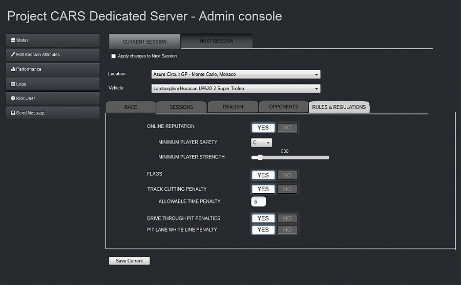 project cars 2 dedicated server options player safety rating