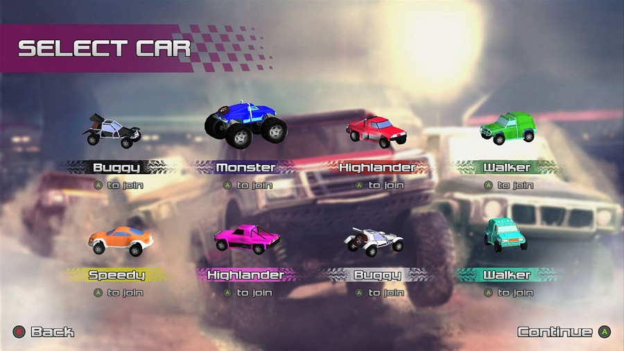 Rock N Racing Off Road DX vehicle selection screen