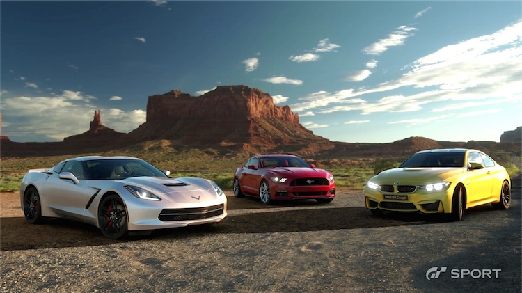 gt gran turismo sport ford mustang chevrolet corvette c7 bmw m4 coupe