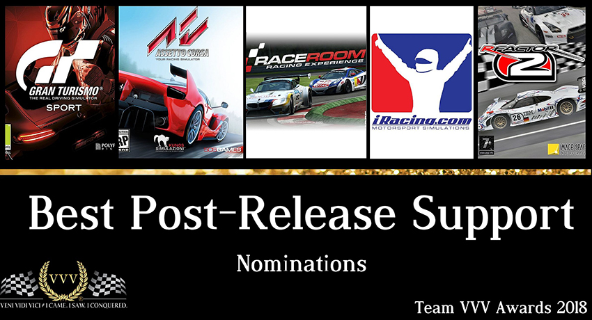 Team VVV Racing Game of the Year Awards 2018 Best Post-Release Support