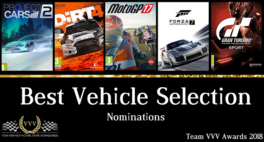 Team VVV Racing Game Awards 2018 Best Vehicle Selection