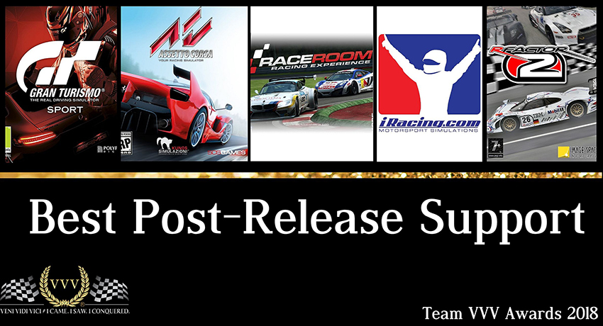 Team VVV Racing Game Awards 2018: Best Post-Release Support