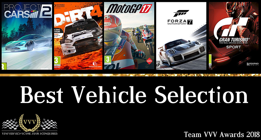 Team VVV Racing Game Awards 2018: Best Vehicle Selection