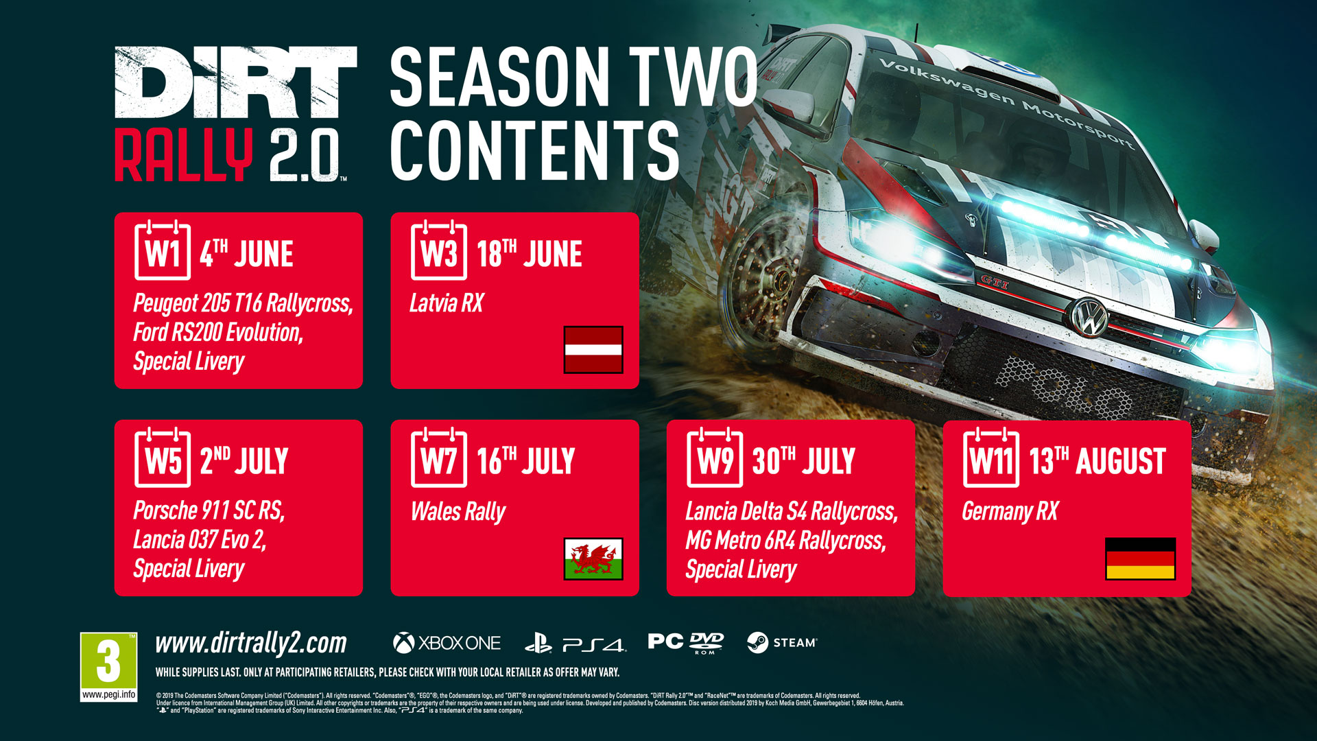 dirt rally 2 0 39 s season two dlc sees return of wales rally. Black Bedroom Furniture Sets. Home Design Ideas